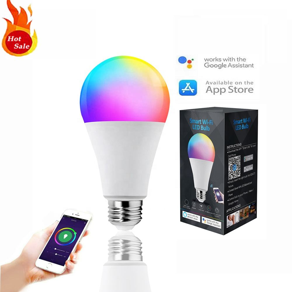 Alexa En Google Home Amazon Hot Koop Oem Odm Led Lampen Groothandel Wifi Gloeilamp 9W Wifi Smart Led lamp Verlichting Rgb Lamp
