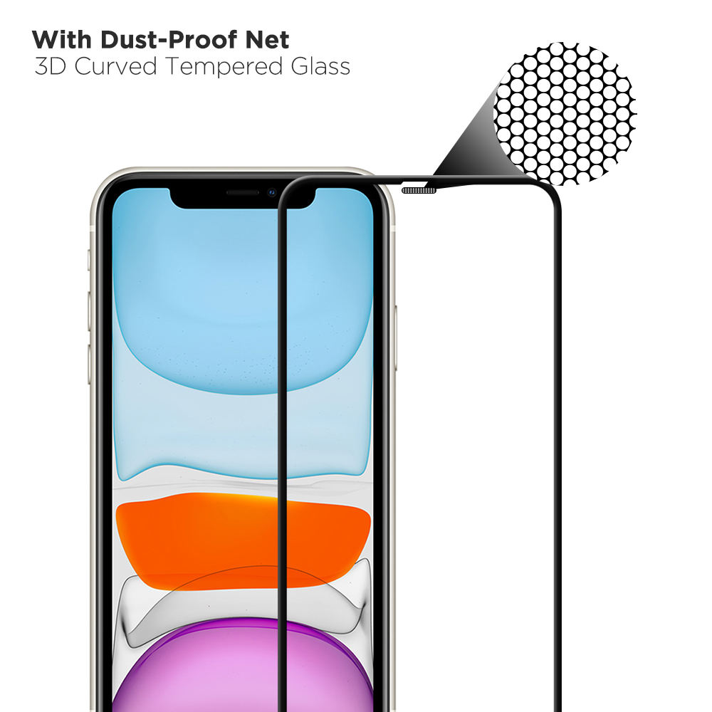 Mesh Protective Earpiece Design Tempered Glass Screen Protector for iPhone 11 3d Full Screen Protector