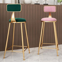 Bar Stools Stackable Furniture Restaurant Nordic  Kitchen Cheap Gold High Chair Counter Modern Metal Velvet Bar Stools With Back