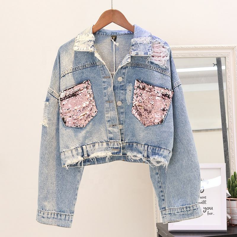 Custom Fashion Design Sequin Patches Denim Jacket Clothing Washed Sequin Denim Jacket Women Made In China