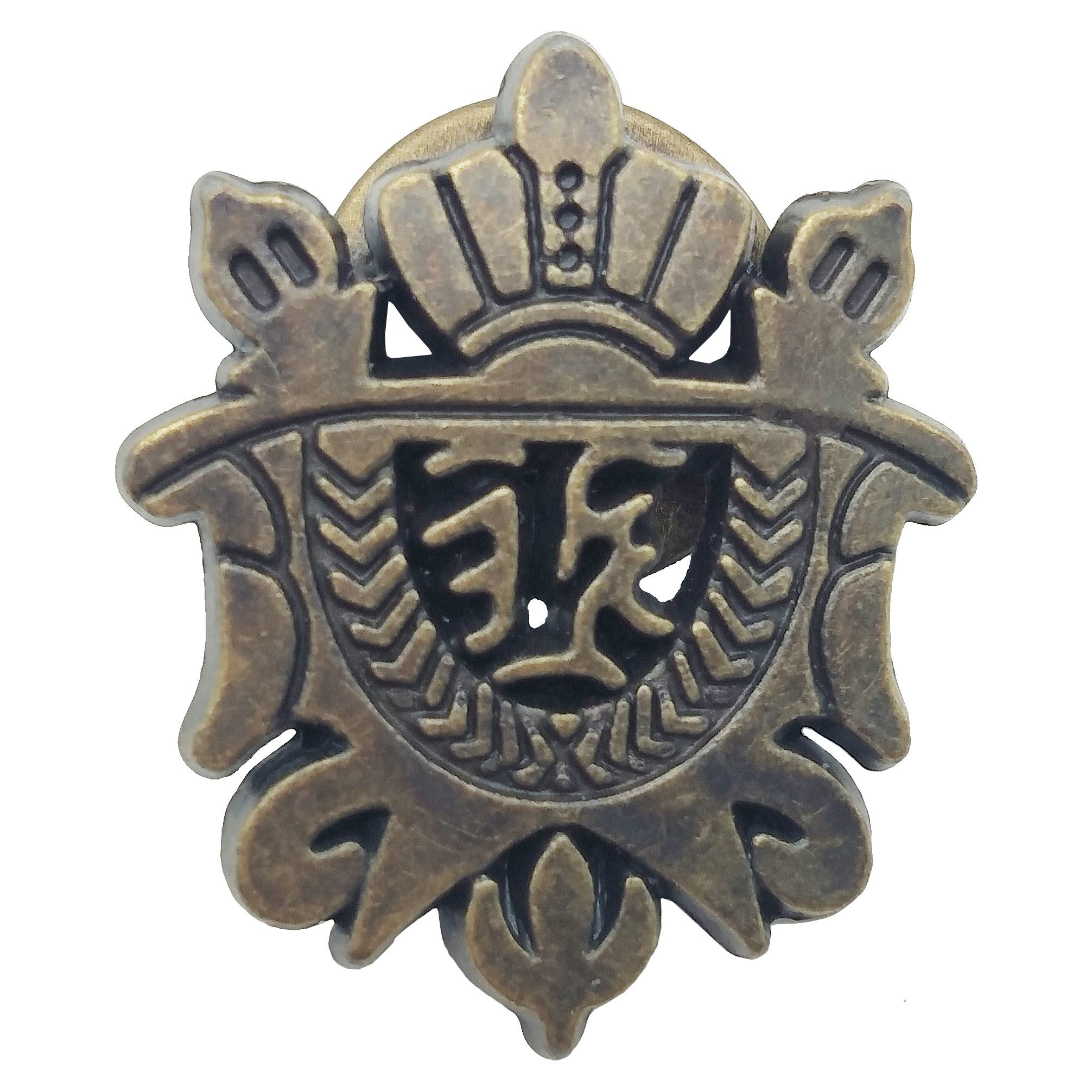 Custom design vintage metal craved badge antique bronze finished brooch pin trophy for awards