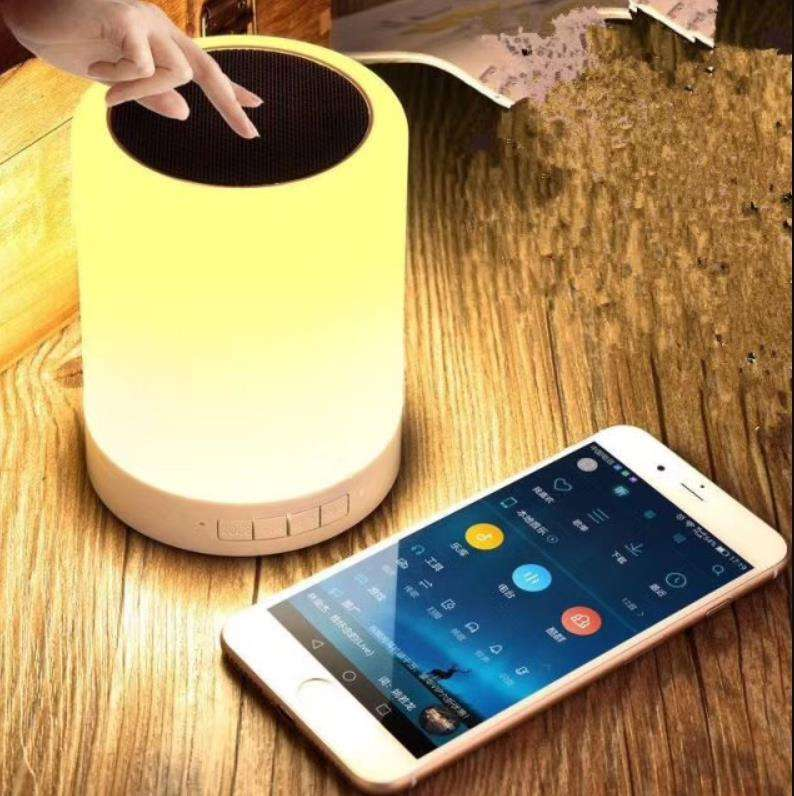Touch Sensor Dimmable smart light portable speaker, Pocket Size FM radio wireless led lamp speaker with bluetooth