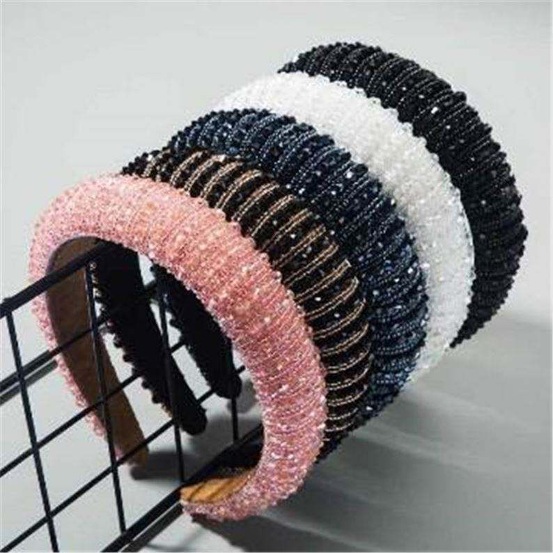 192 Boutique Wide Colorful Crystal Beads Headband for Lady Glitter Padded Beads Women Sponge Hair Hoop