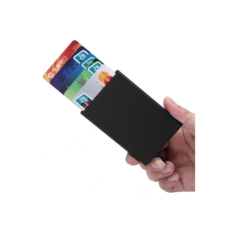 YOUYUE Credit Card Holder RFID Blocking Pop Up Wallet Aluminum Security Card Case for Man and Women Holds 5 Cards