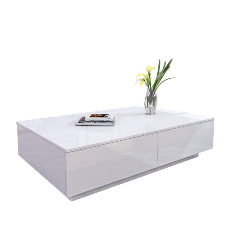 Modern Wooden Coffee Tea Table High Gloss Coffee Table with 4 Storage Drawers for Living Room