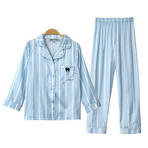 High Quality Ice Silk Sleepwear Stripe Blue Baby Boys Nightwear Cute Pajamas Set For Children