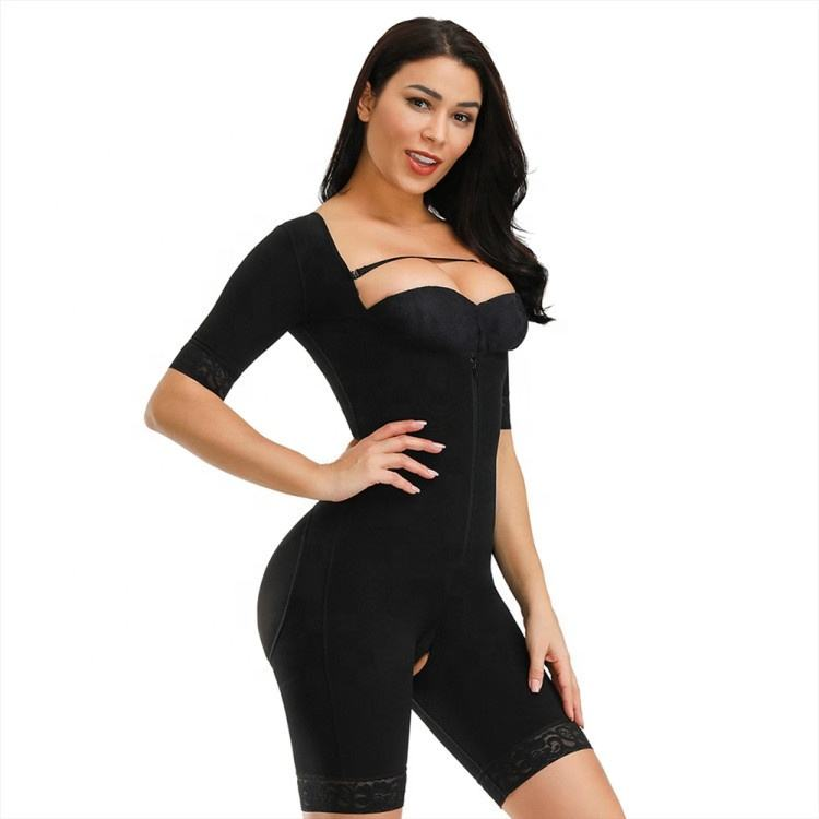Full Bodysuit Slimming Shaper With Hooks Open Crotch Lace Trim Knee-Length Slimming Sheath Fajas Colombianas Post Surgery