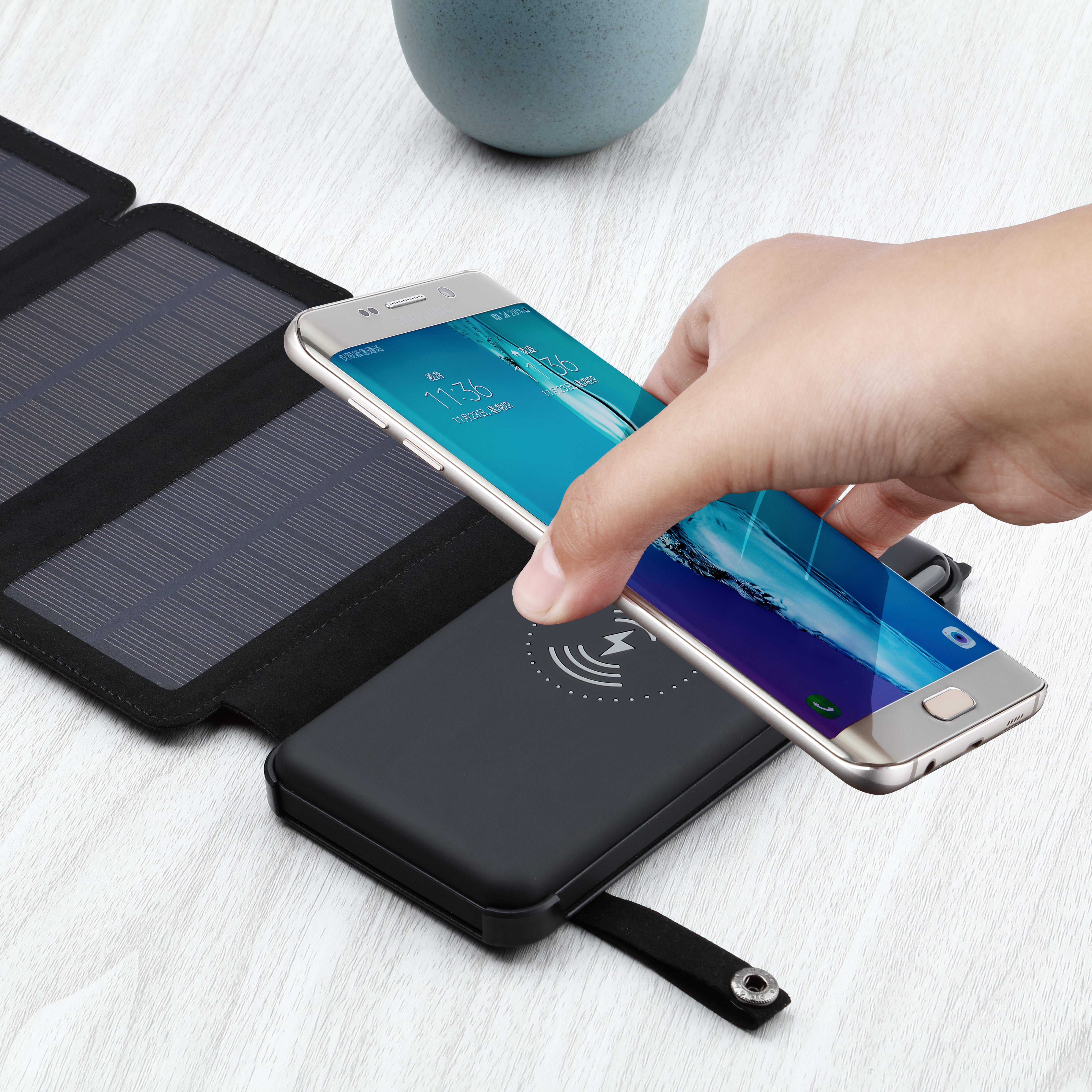 Detachable 10000 mah Wireless Charger Solar Power Bank Banks Cell Phone Mobile Supply Foldable Solar Panel Powerbank 10000mah