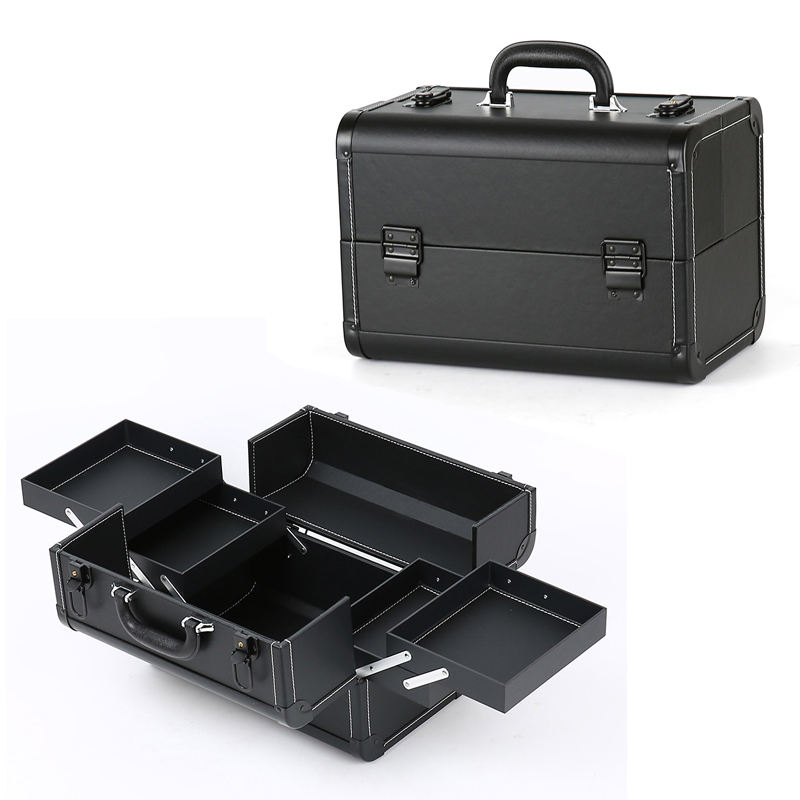 Keyson personalised nice professional black leather makeup case vanity box for beauty artist tool
