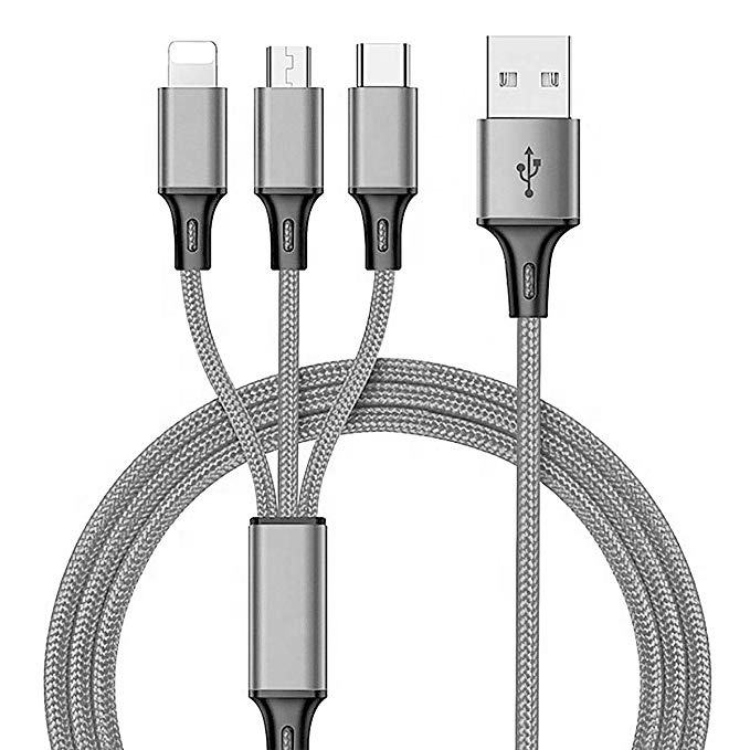 Durable 3 in 1 Magnetic Fast USB Charging Cable Universal Multi Function Cell Phone Charger Cord