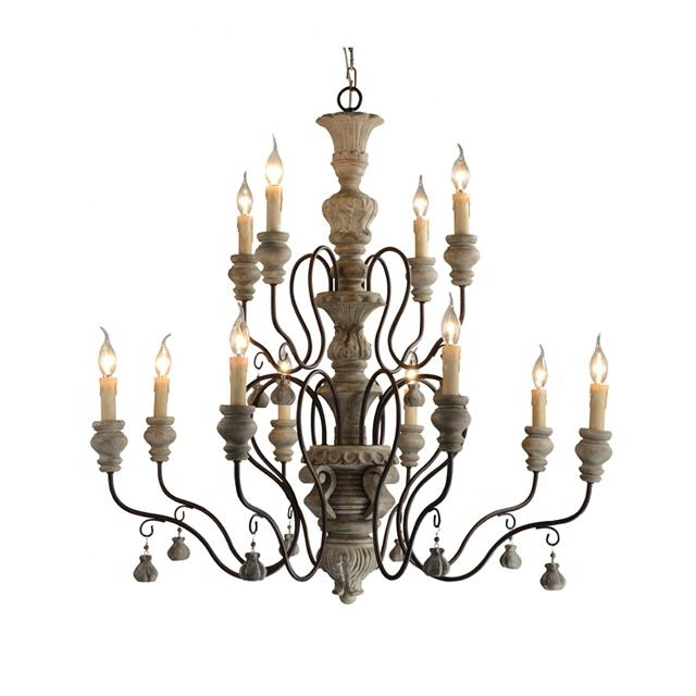 American country wooden candle chandeliers lamp personalized old antique iron restaurant lamp decorative Rustic Chandelier
