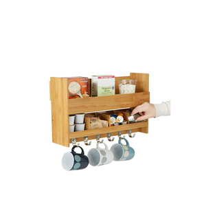 Kitchen Storage Organize Bamboo Wall Mount Coffee Mug Rack with 6 Hooks and 2 Shelves