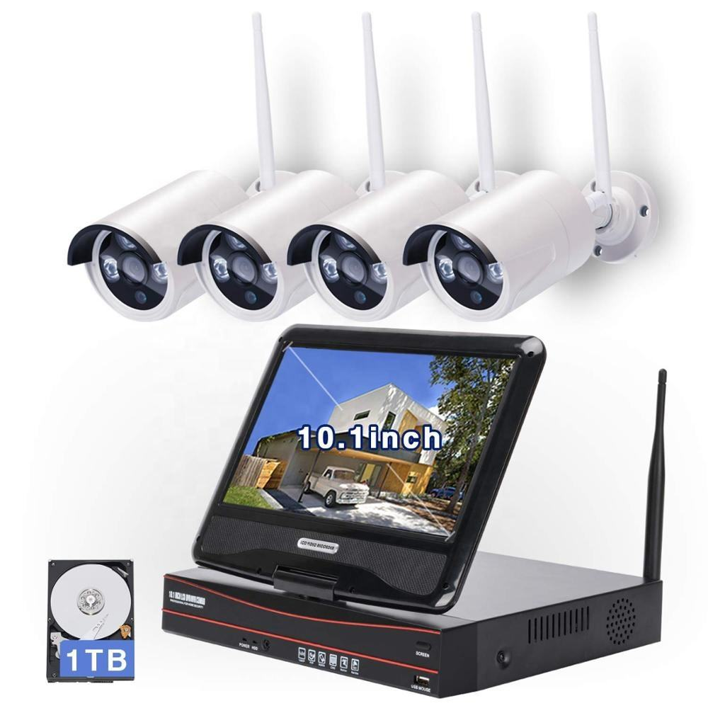 4Ch 10'' LCD Security Monitoring Wireless System Surveillance Waterproof Digital Camera Cctv Kit