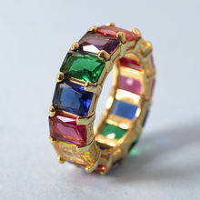 Fashion 925 Sterling Silver Jewelry Cubic Zirconia 18K Gold Plated Diamond Wedding Engagement Rainbow Eternity Ring For Women