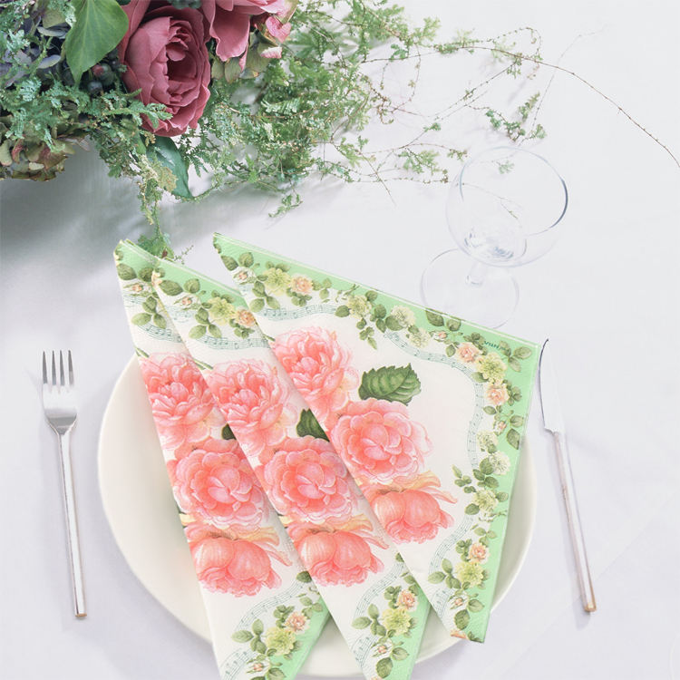 Damon Tissue colored romantic flowers printed dinner paper napkins made in China