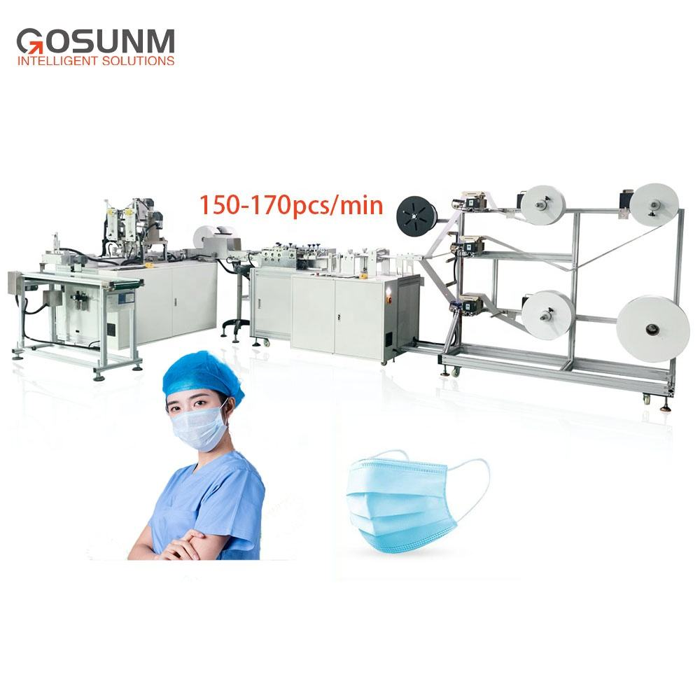 GOSUNM 1+1 Full-Auto Disposbale Flat Face Mask Machine with Visual Inspection + Packaging Production Line