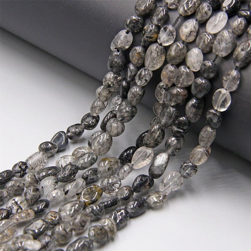 Loose Chip Semi Precious Beads, Stone Nugget Bead, Natural Black Rutilated Crystal Quartz Chip Beads Strand