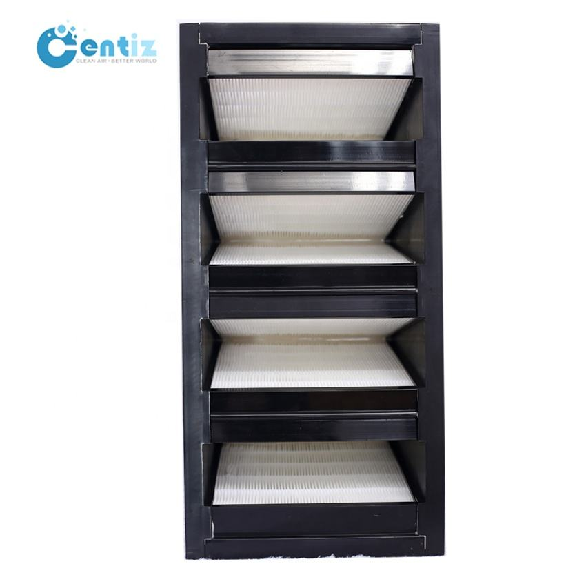 Large air volume hepa air filter W shape V-bank Type hepa filters for ventilation Air conditioning and heating system