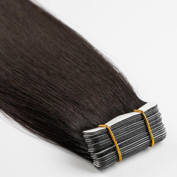 Qingdao Private Label Remy Virgin 100% European Hair Extension Natural #1B Color Full Cuticle Tape Hair Extensions