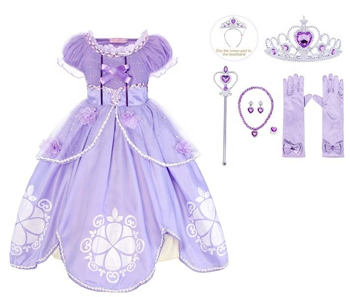 Princess Sofia Girls Costume Dress up Cosplay Pretend Play Dress Birthday Outfit Cosplay Party Dresses with Accessories
