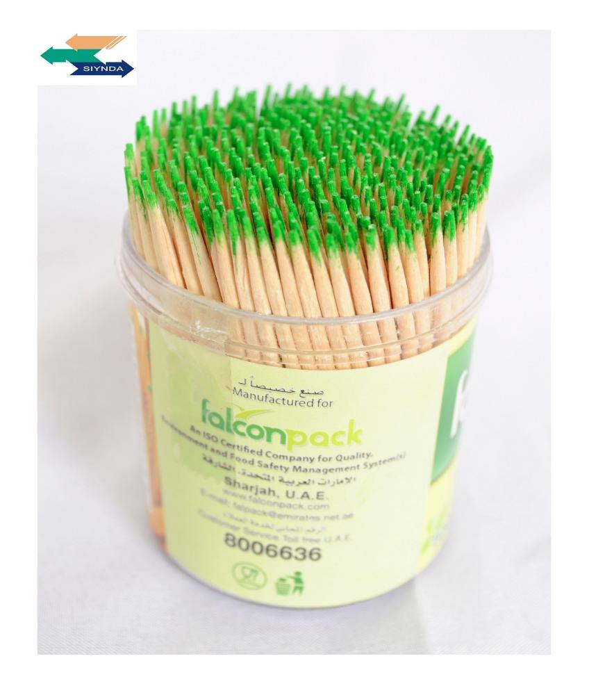 lowest price double pointed plastic green bottle packed buy bulk toothpick