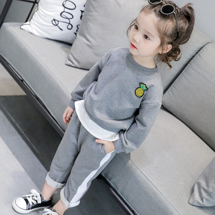 Spring and autumn new long sleeve suit girl printing graffiti set of children in two sets