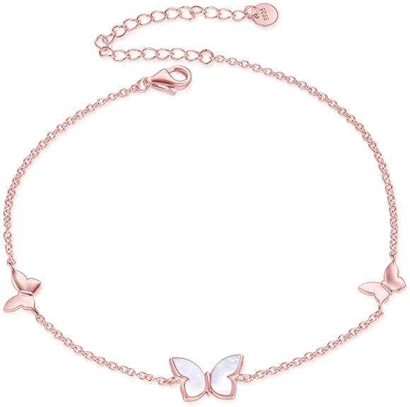 925 Sterling Silver Pearl Butterfly Jewelry Necklace & Rings & Anklets & Bracelet for Women Gift