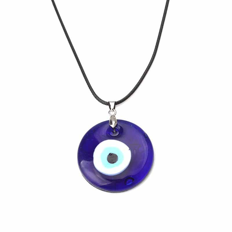 HOVANCI Newest Accessories Blue Glass Evil Eyes Charms Necklace Black Wax String Evil Eyes Necklace For Women