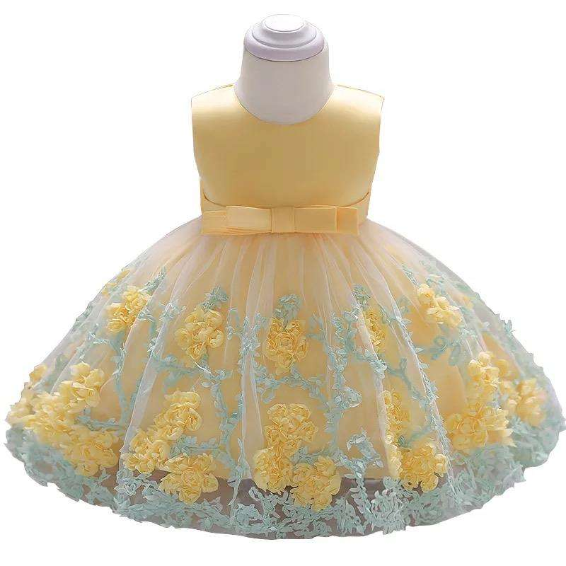 2019 sleeveless kids chiffon floral princess party dress infant baby girl wedding full dress