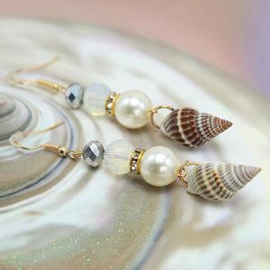 2020 Fashion Pearl Shell Earrings Bead Earrings Glass Girls Jewelry Sea Shell Dangle Earrings