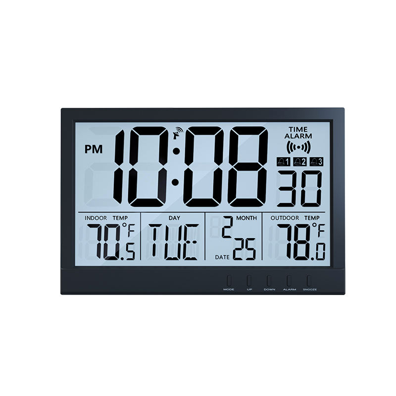 Large LCD Controlled Wall Clocks Atomic Digital Wall Clock or Stand with Wireless Outdoor Sensor Indoor or Outdoor Temperature