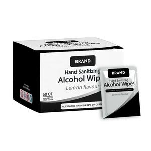 Individual alcohol wipes with custom packaging