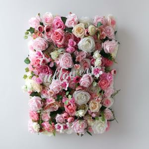 Custom High Quality 5D 3D White Pink Red Purple Roll Up Wedding Decorative Artificial Silk Peony Rose Flower Wall Panel Backdrop
