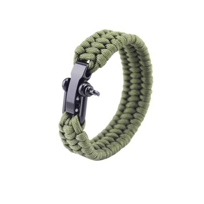 adjustable Green ParaCord Rope Outdoor Survival Bracelet Camping Steel Shackle Buckle Wholesale
