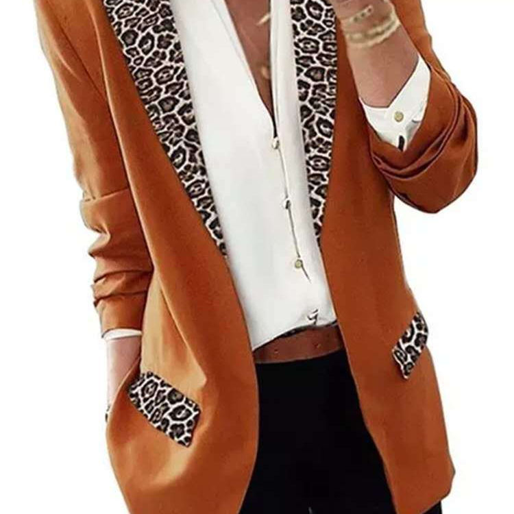Ladies Leopard Print Patchwork Outwear Tops Elegant Turn-Down Collar Women Cardigan Coats Autumn Casual Long Sleeve Slim Jackets
