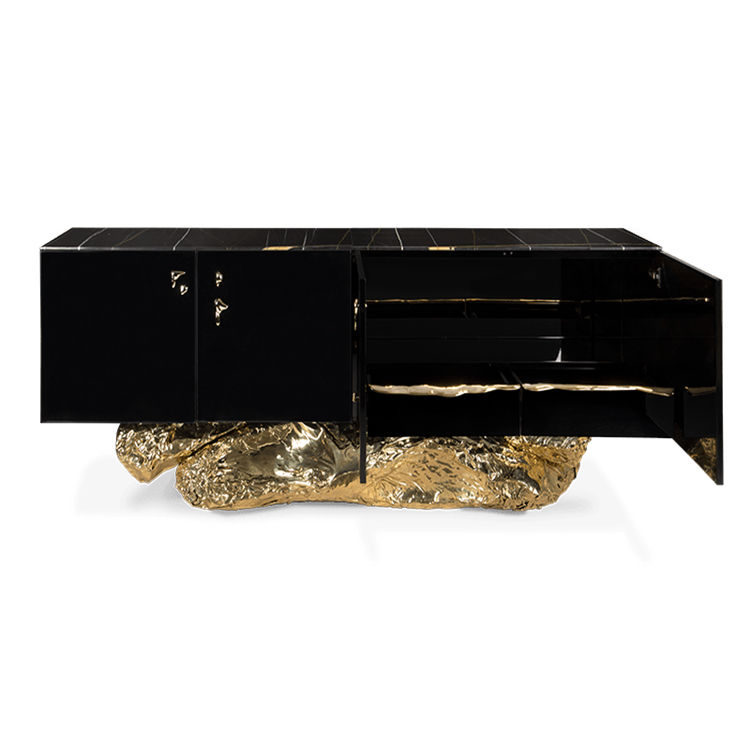 Modern wooden storage sideboard cabinet design hammered brass base cast copper handle and high gloss black lacquered wood