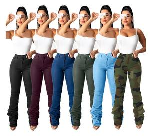 2020 Fall Clothing Ladies Jeans Denim Women High Waist Jeans Pleated Stacked Jeans Pants Trousers