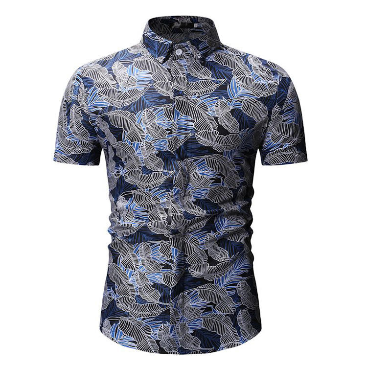 Customized summer new men's casual digital print short-sleeved flower shirt