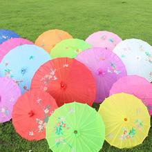 Wholesale beautiful silk parasol wedding decoration flower pattern hand painted bamboo umbrella bamboo parasol customized paper