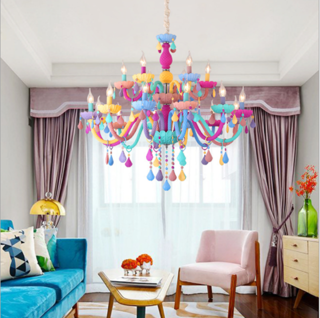 JYL-SJ056 Contemporary lighting sweet candy color kids chandelier candle shape cute hang crystal chandelier