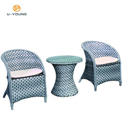 Outdoor Rattan  Material Garden Furniture 3-Piece Dining Table And Chairs Set