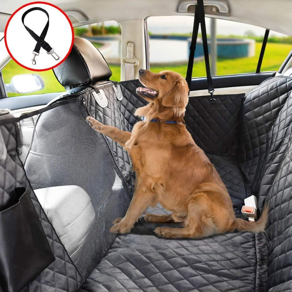 100% Waterproof Dog Car Seat Covers for Back Seat with Mesh Window, Scratch Proof Nonslip Dog Car Hammock for for Cars Trucks