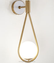 Hot Selling Indoor Contemporary Decoration Antique Brass finished and Glass  Wall sconce Lamp for bedroom