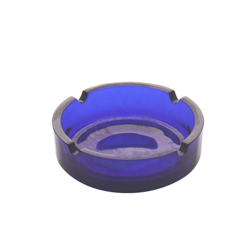 Blue round ashtray different kinds ashtray personalized glass ashtray for sale