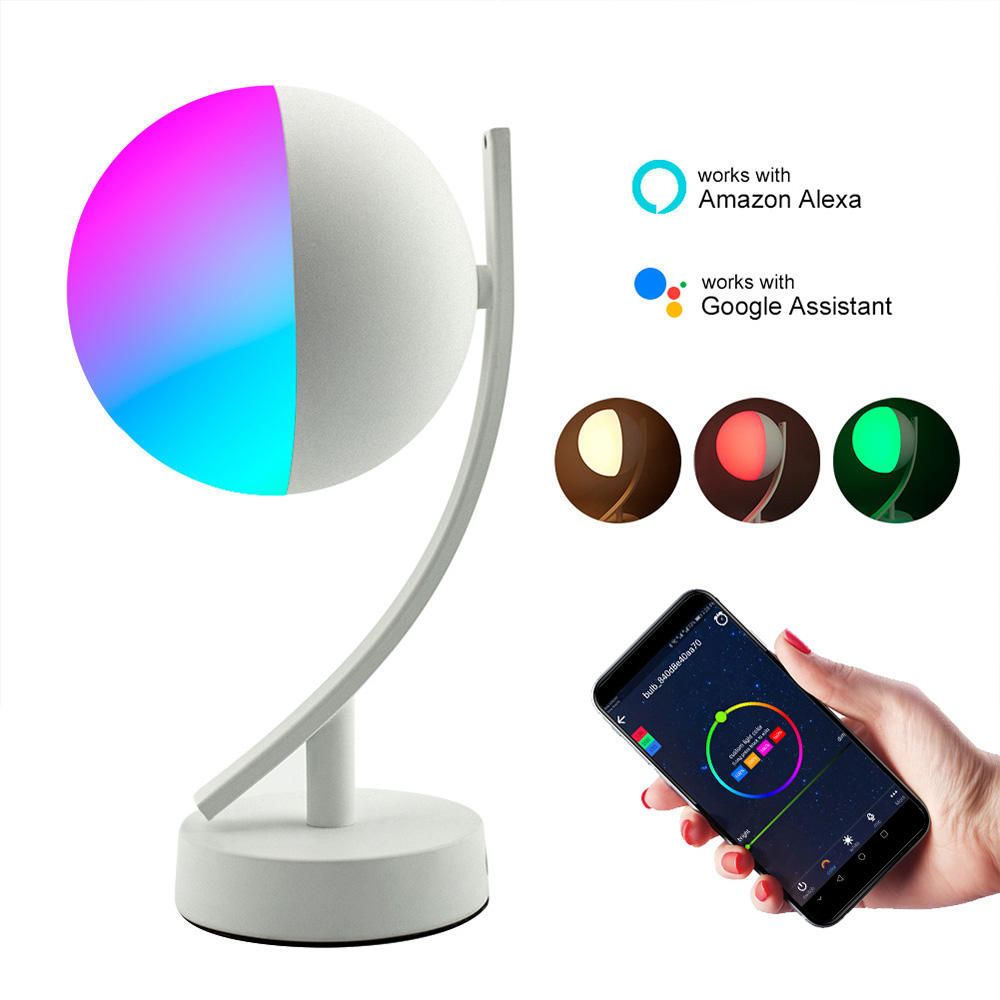 WiFi Smart Table Lamp for Bedrooms, Touch Bedside Lamp Works with Alexa Google Home, RGB Color Changing Night Light