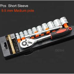 12 Pcs  Short Sleeve  3/8  9.5mm inch Drive Ratchet Socket Wrench Set - Reversible Ratchet Handle