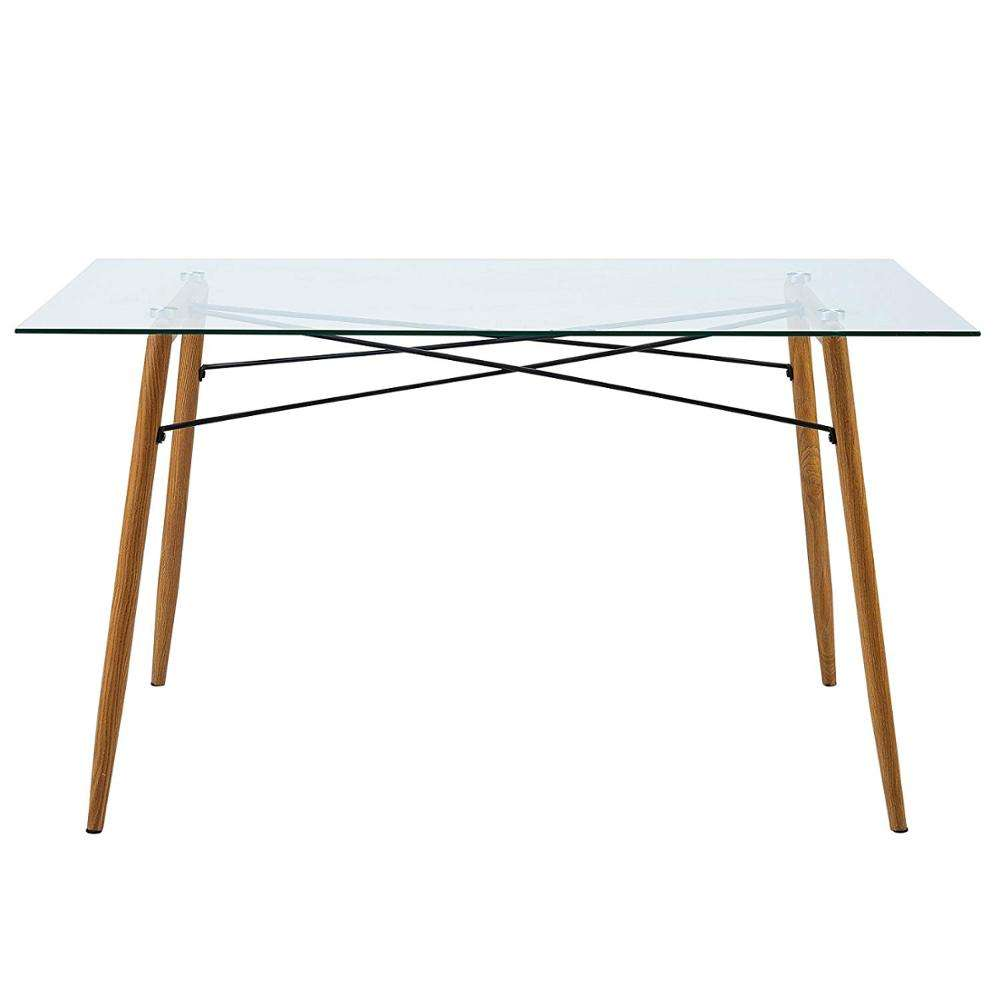 Wholesale high quality modern furniture glass countertop full metal frame dining table