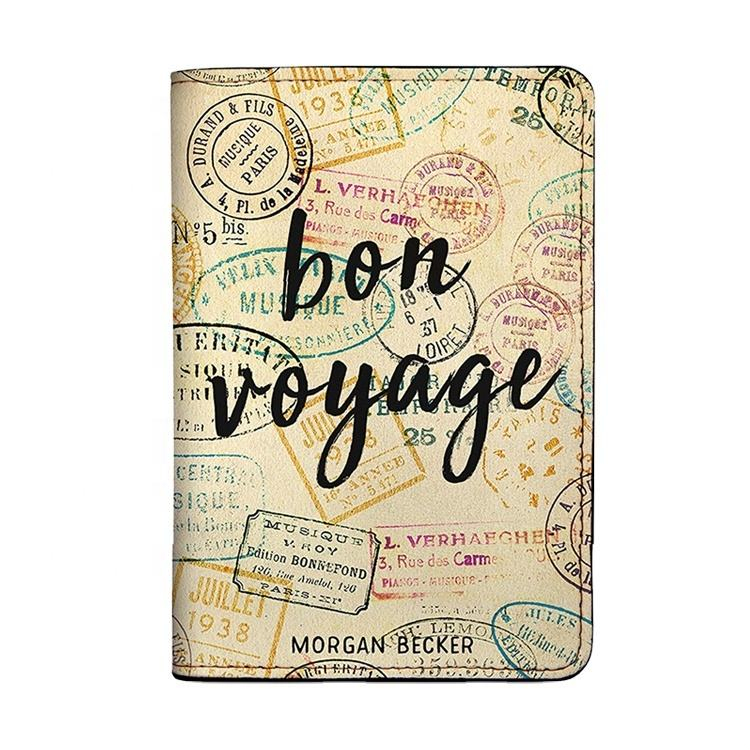 Custom Full Color Print Passportr Cover Holder PU Leather Passport Holder