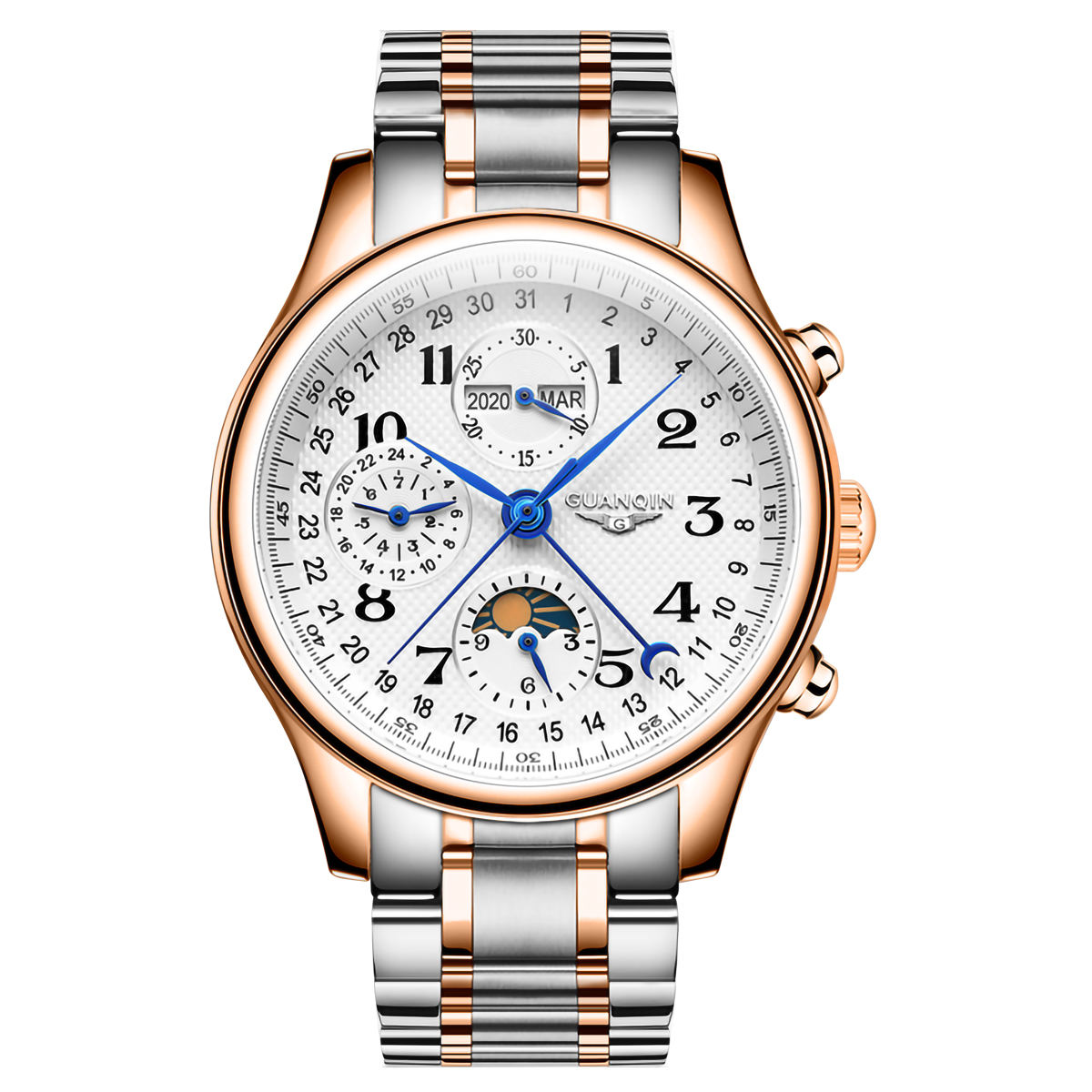 GuanQin Top 10 products Multifunction automatic watches men wrist mens watch Custom watch logo