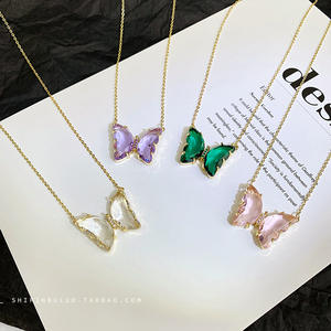 Factory Hot Sale Color 18K Gold Plated Women Jewelry Charm Crystal Butterfly Necklace
